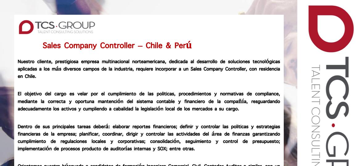 Buscamos Sales Company Controller Chile-Perú